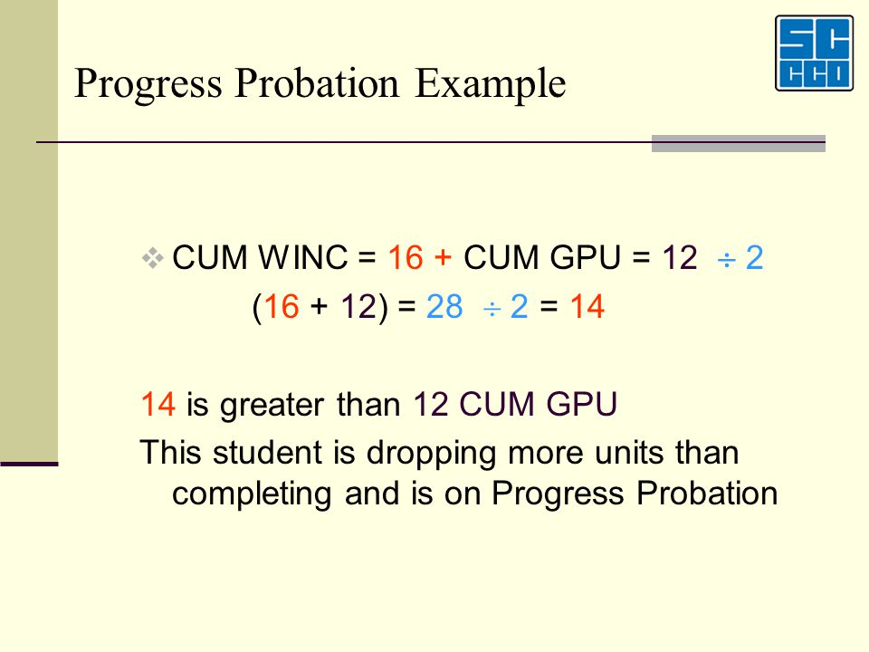 Progress Probation Example