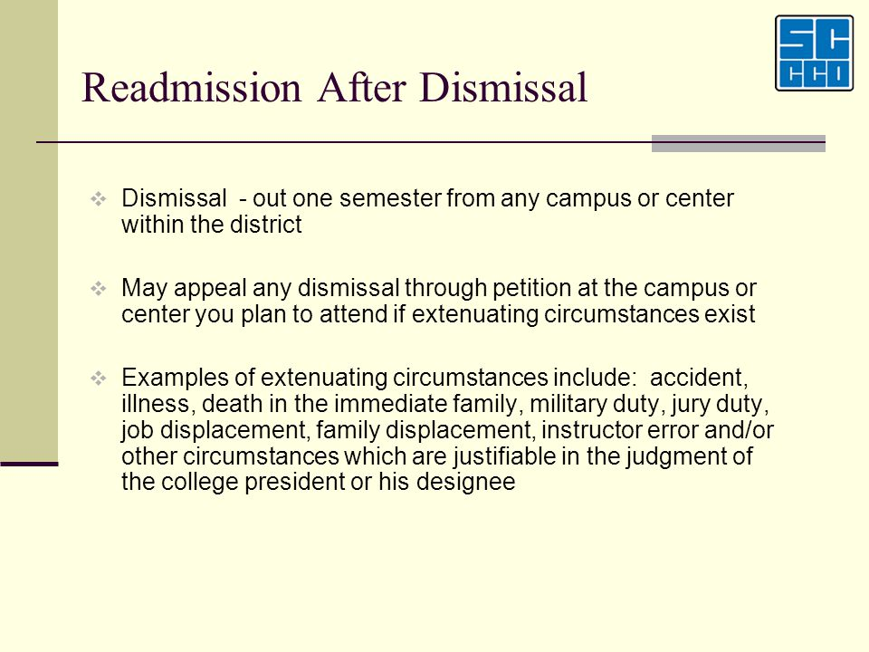 Readmission After Dismissal