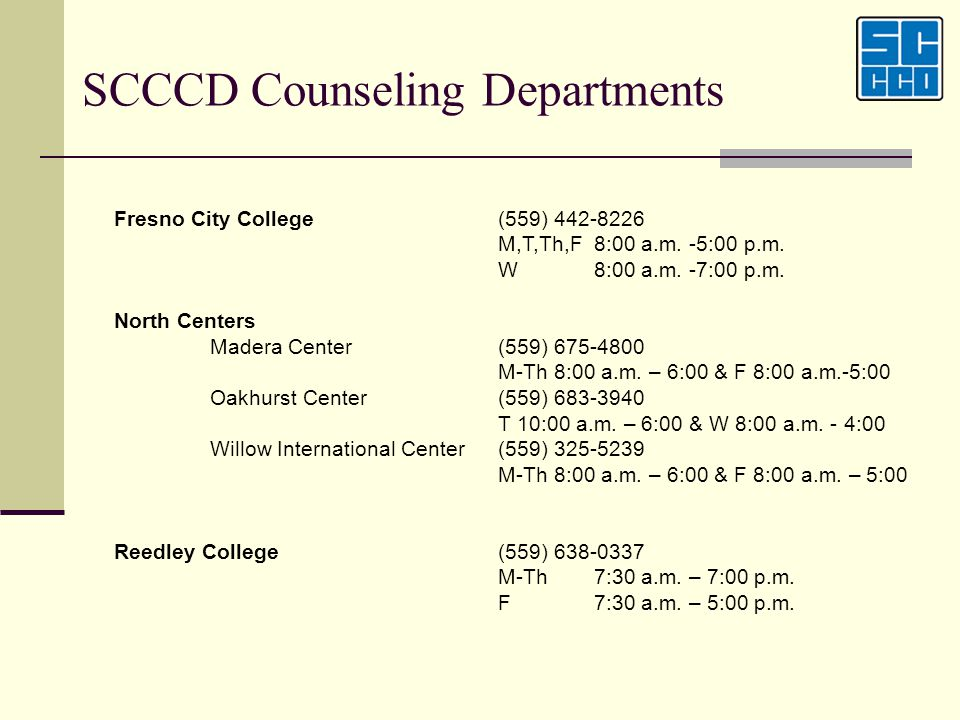 SCCCD Counseling Departments