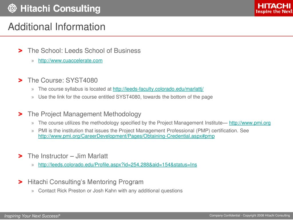 Hitachi Consultings Project Management Mentoring Program Ppt Download