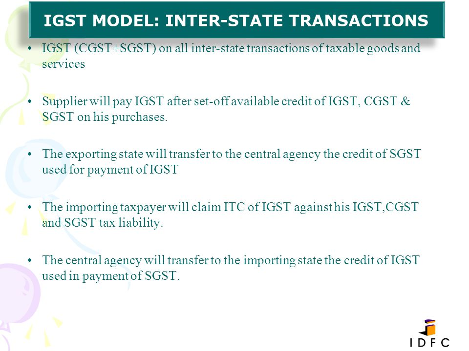 IGST MODEL: INTER-STATE TRANSACTIONS