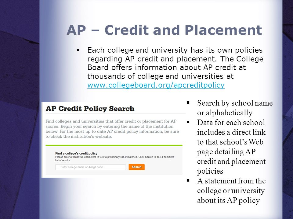 AP – Credit and Placement