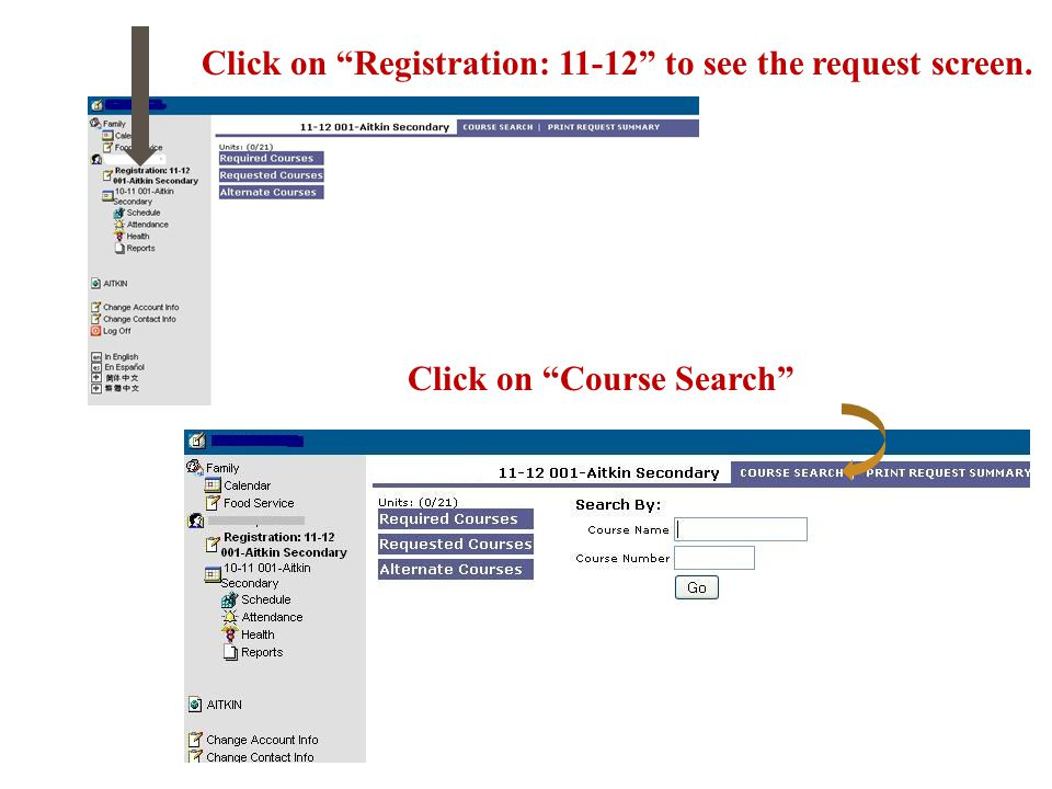 Click on Course Search