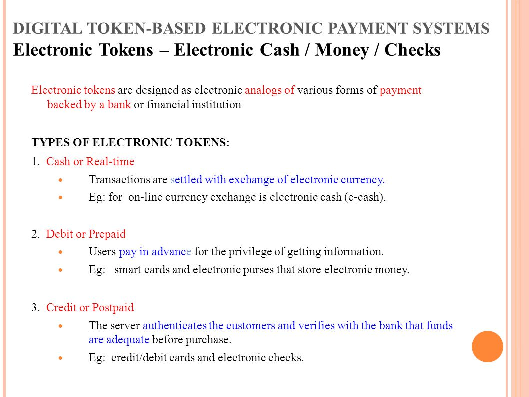 DIGITAL TOKEN-BASED ELECTRONIC PAYMENT SYSTEMS Electronic Tokens – Electronic Cash / Money / Checks