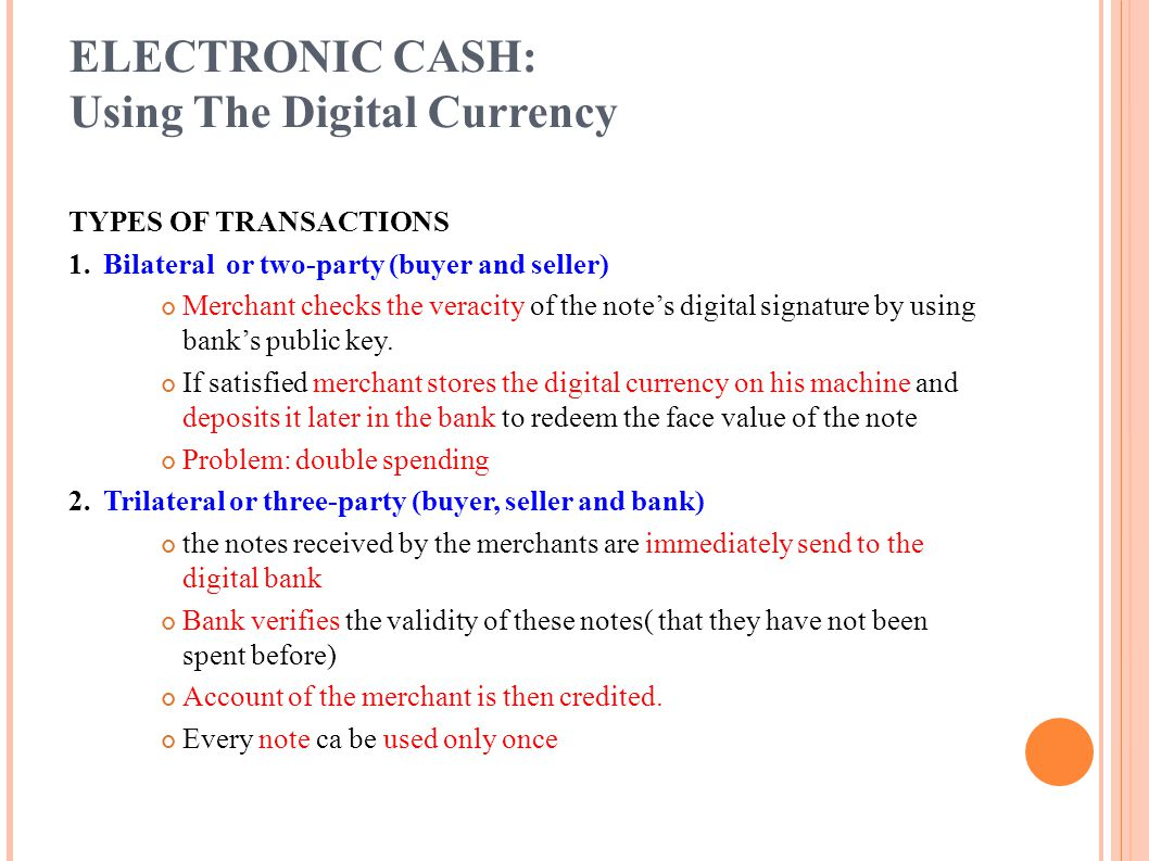 ELECTRONIC CASH: Using The Digital Currency