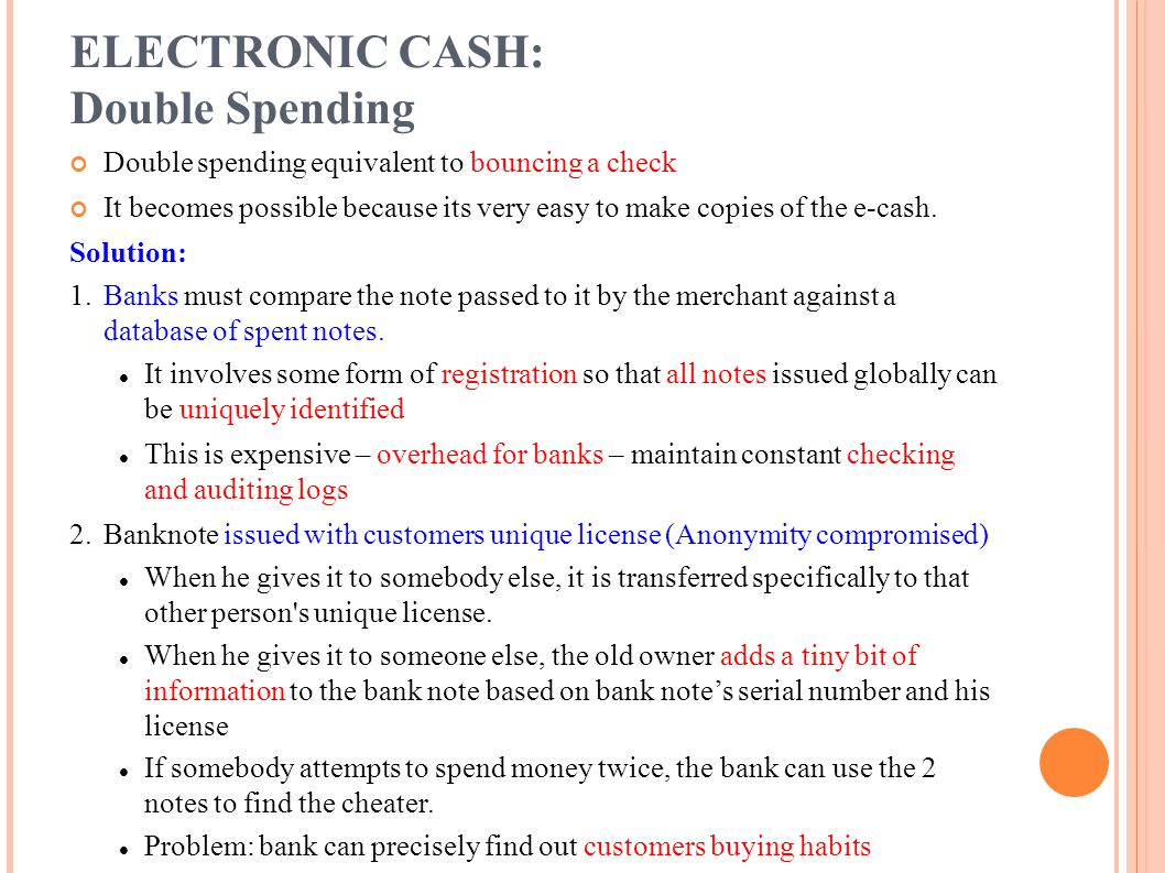 ELECTRONIC CASH: Double Spending