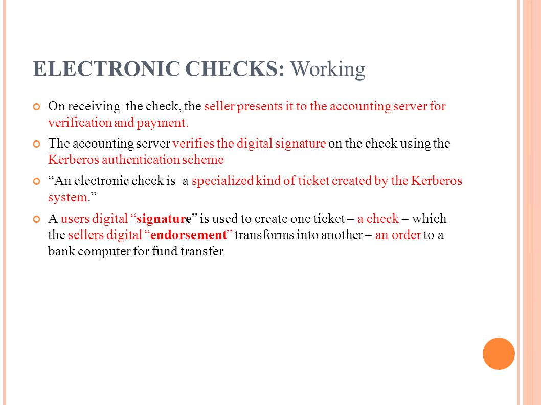 ELECTRONIC CHECKS: Working