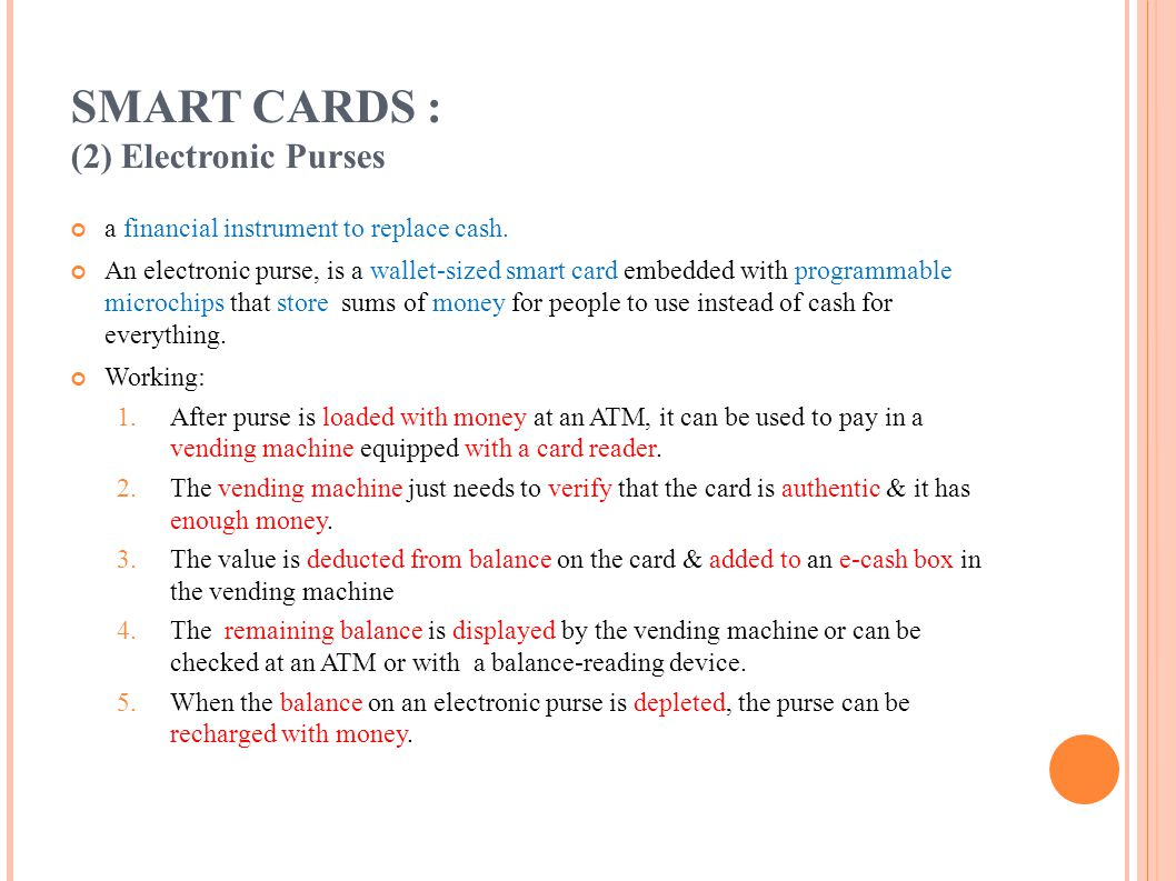 SMART CARDS : (2) Electronic Purses
