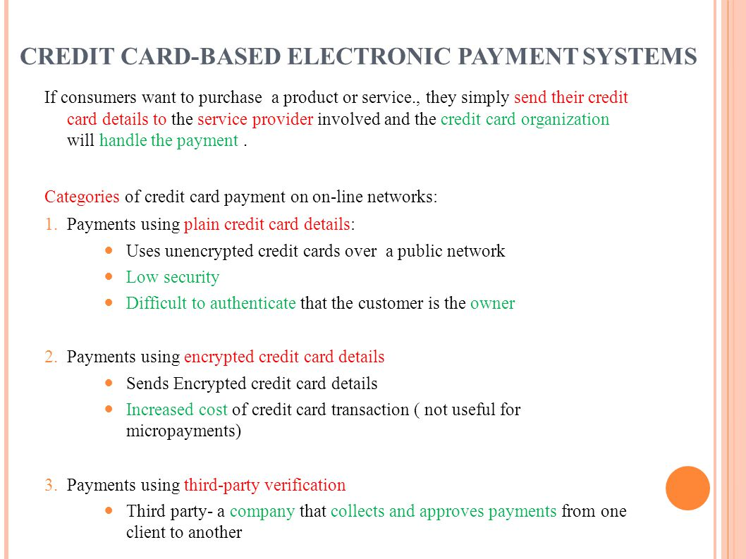 CREDIT CARD-BASED ELECTRONIC PAYMENT SYSTEMS
