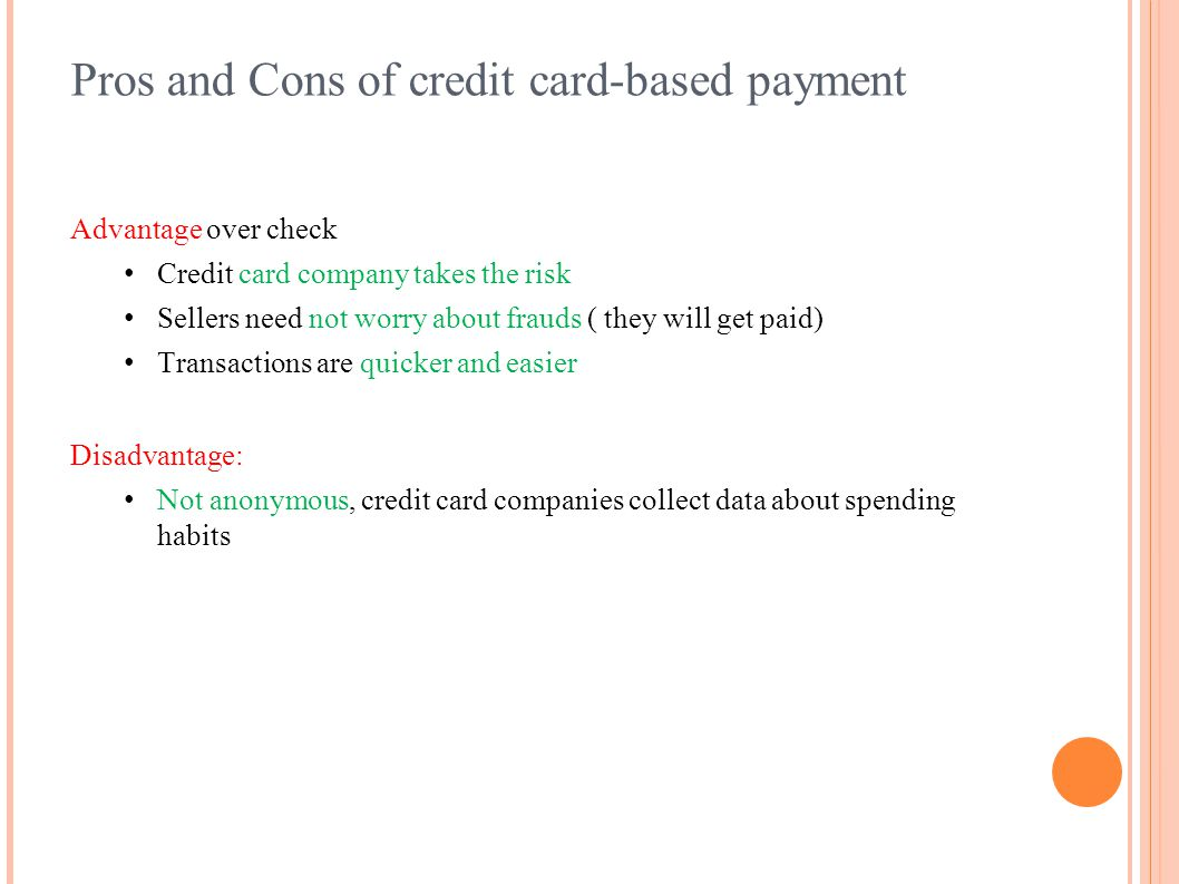 Pros and Cons of credit card-based payment
