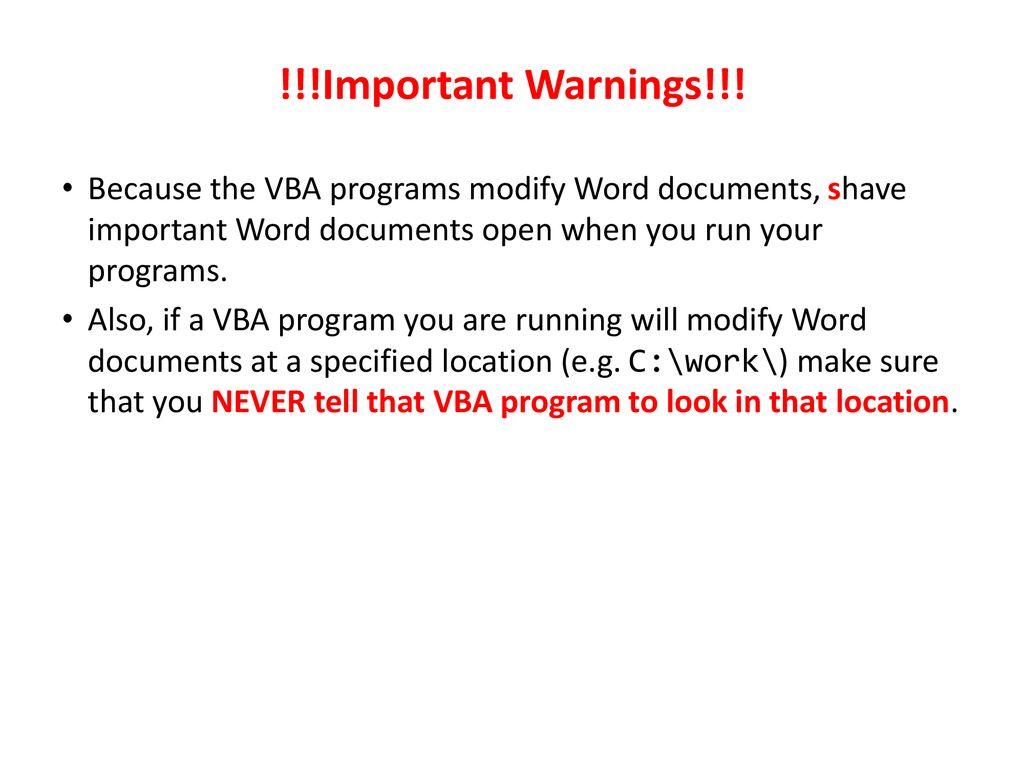 VBA Programming: Part I - ppt download