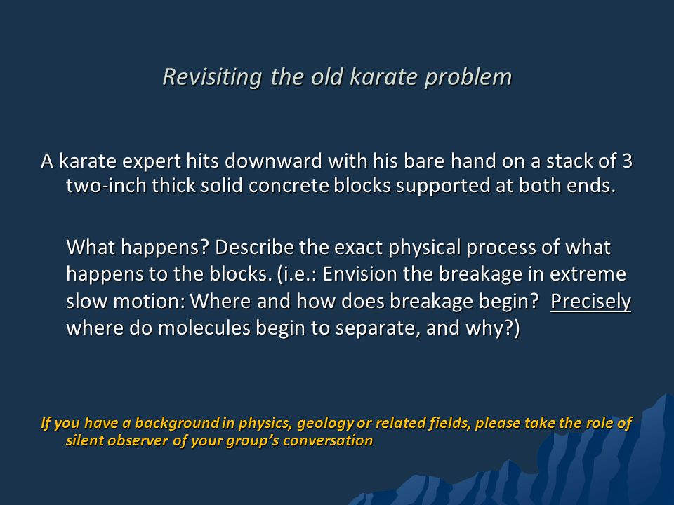 Revisiting the old karate problem