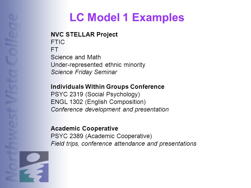 LC Model 1 Examples NVC STELLAR Project FTIC FT Science and Math