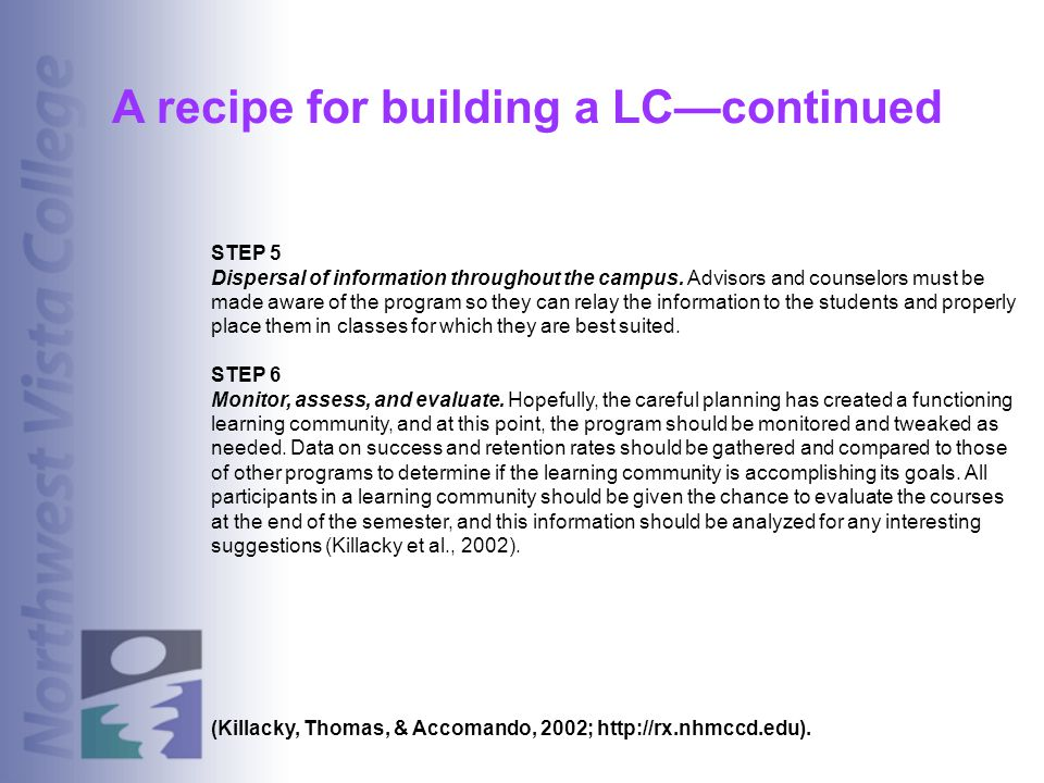 A recipe for building a LC—continued