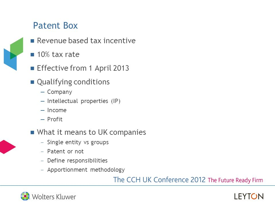Patent Box Revenue based tax incentive 10% tax rate
