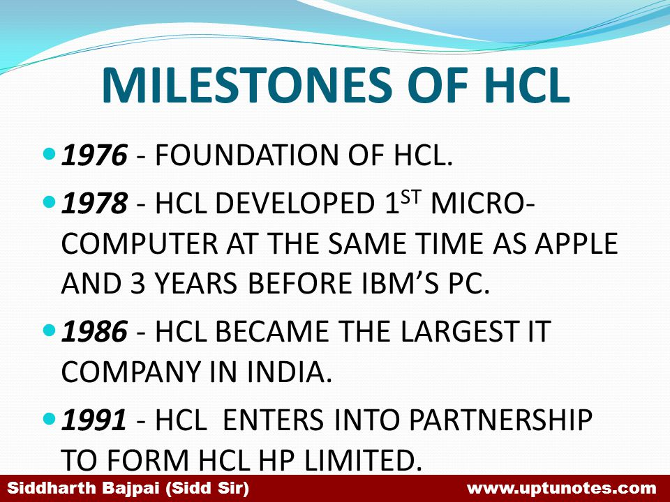 MILESTONES OF HCL 1976 - FOUNDATION OF HCL.