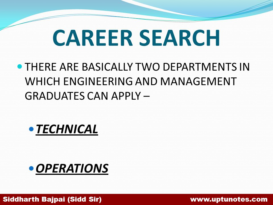 CAREER SEARCH TECHNICAL OPERATIONS