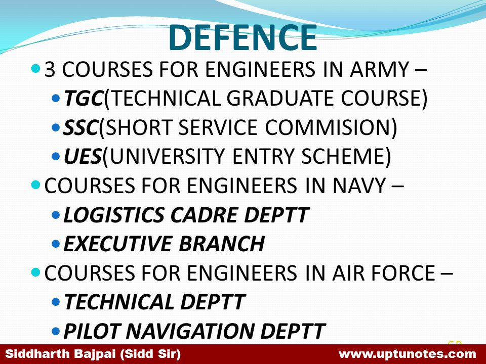 DEFENCE 3 COURSES FOR ENGINEERS IN ARMY –
