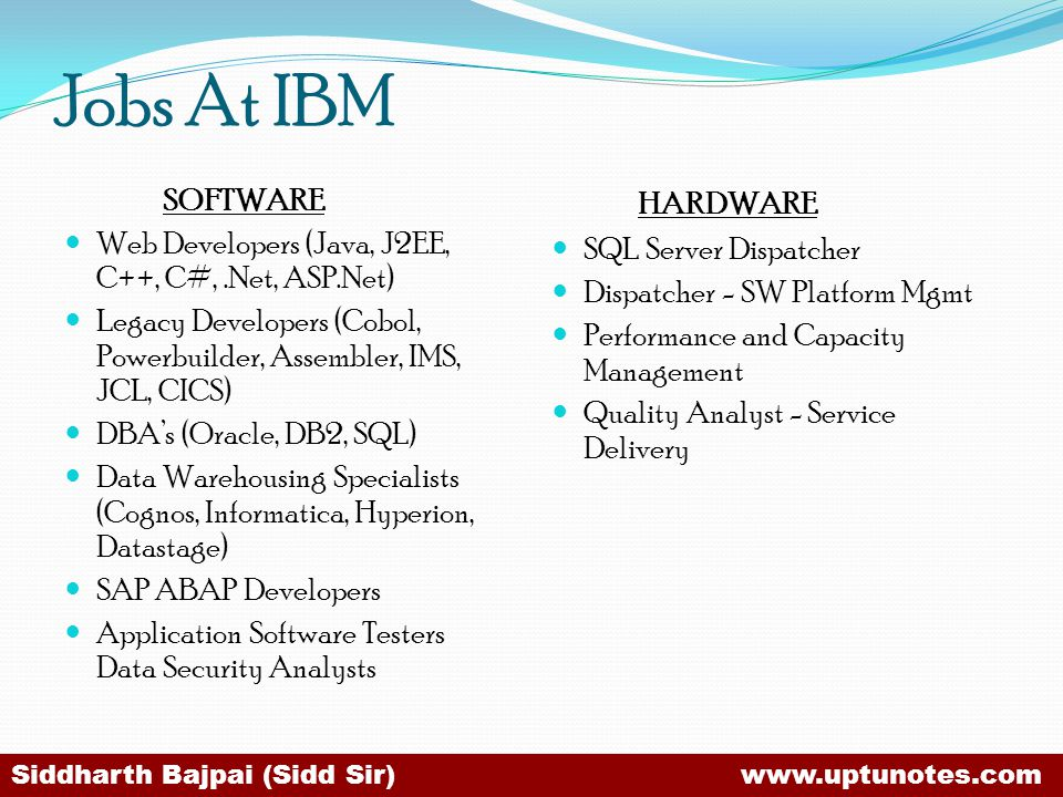 Jobs At IBM HARDWARE SOFTWARE