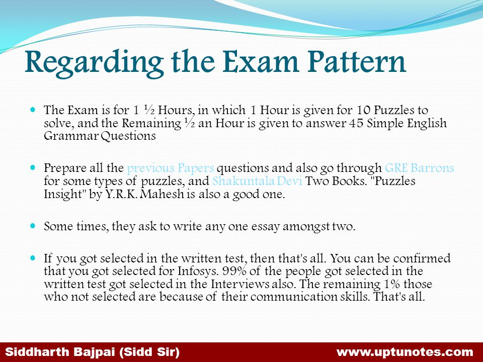 Regarding the Exam Pattern