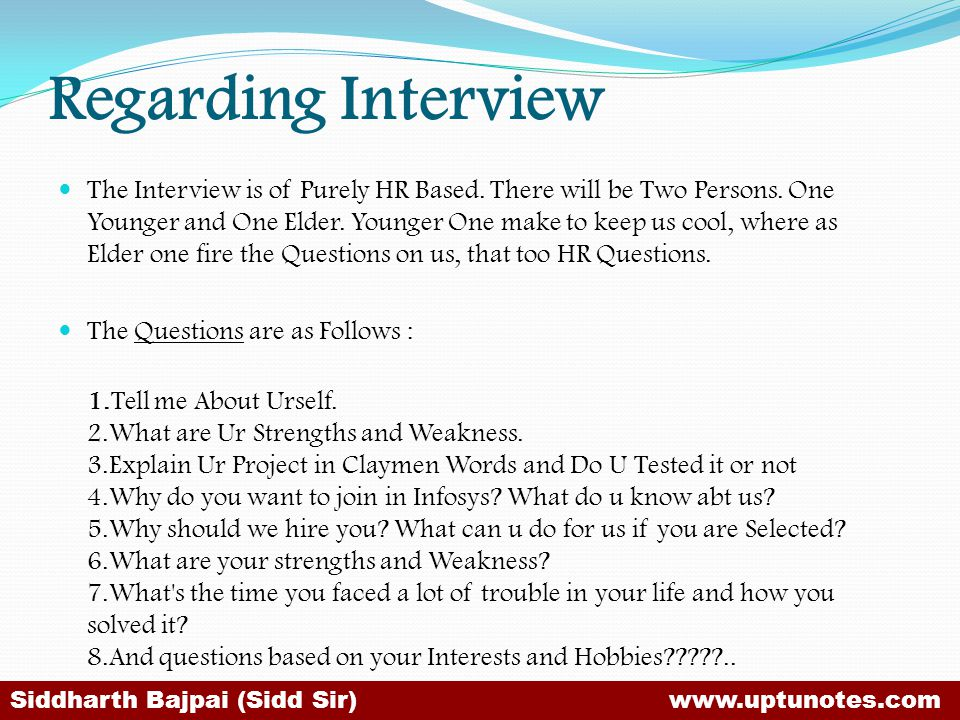 Regarding Interview