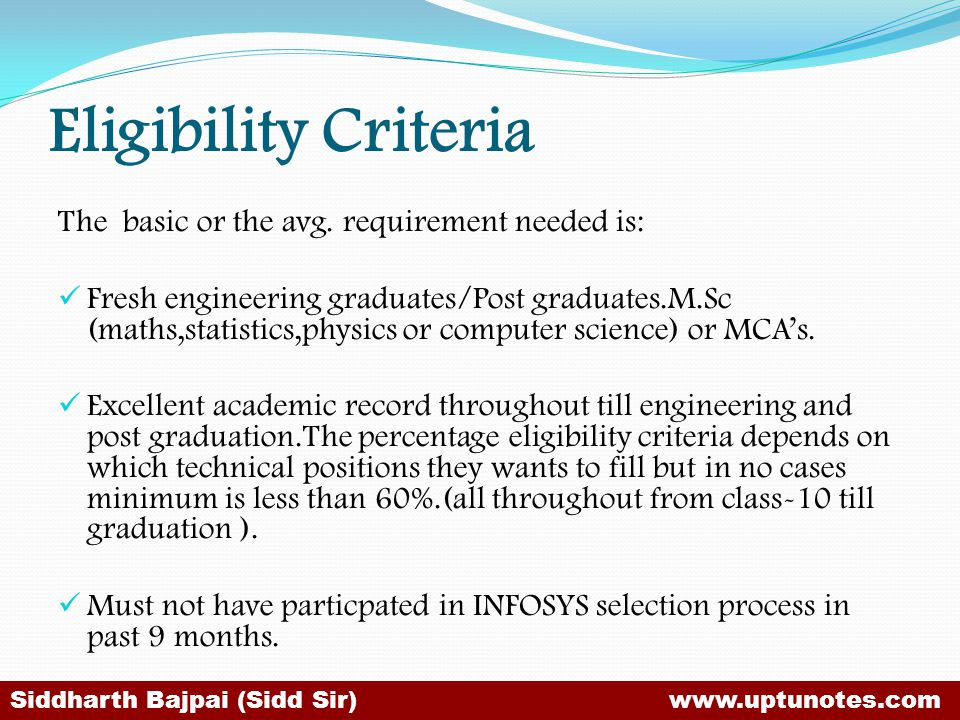Eligibility Criteria The basic or the avg. requirement needed is: