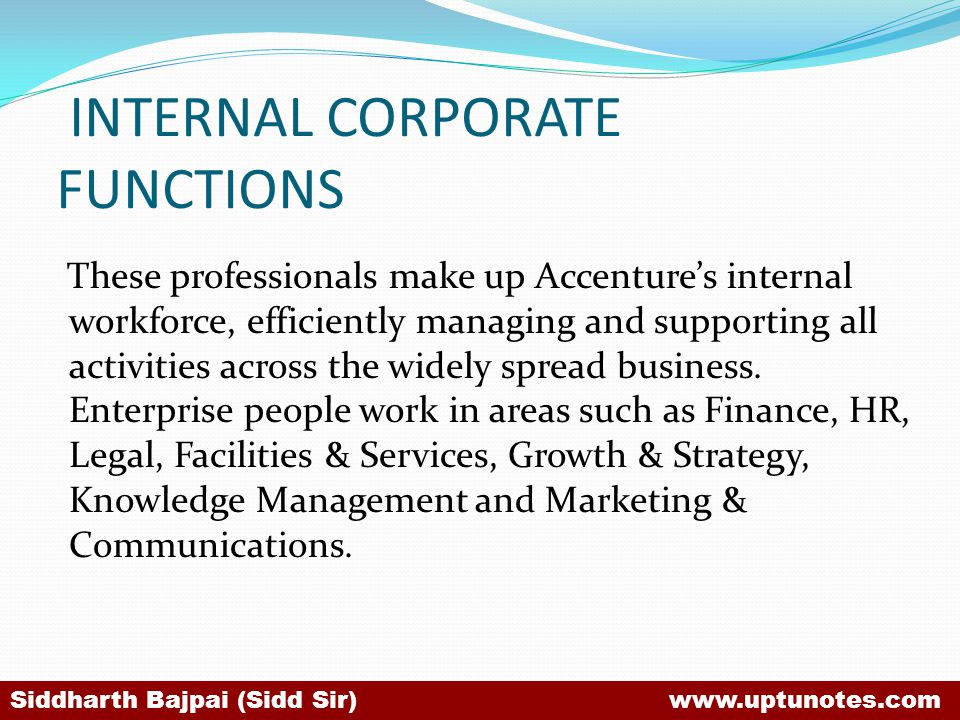 INTERNAL CORPORATE FUNCTIONS