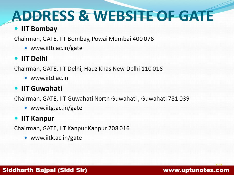ADDRESS & WEBSITE OF GATE