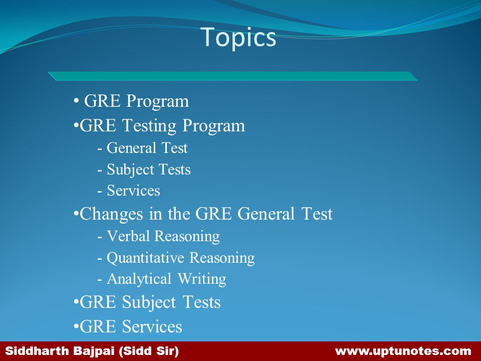Topics GRE Program GRE Testing Program Changes in the GRE General Test