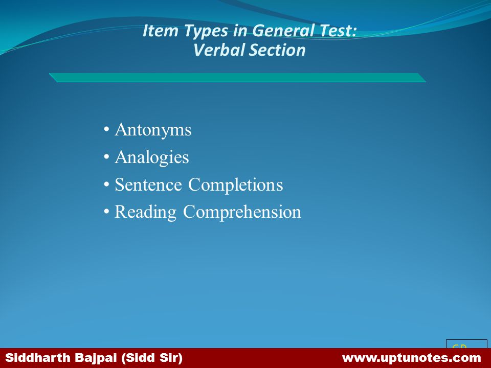 Item Types in General Test: Verbal Section