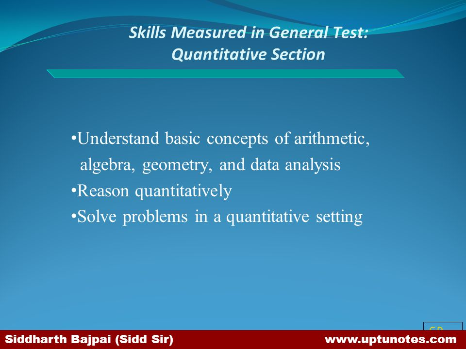 Skills Measured in General Test: Quantitative Section