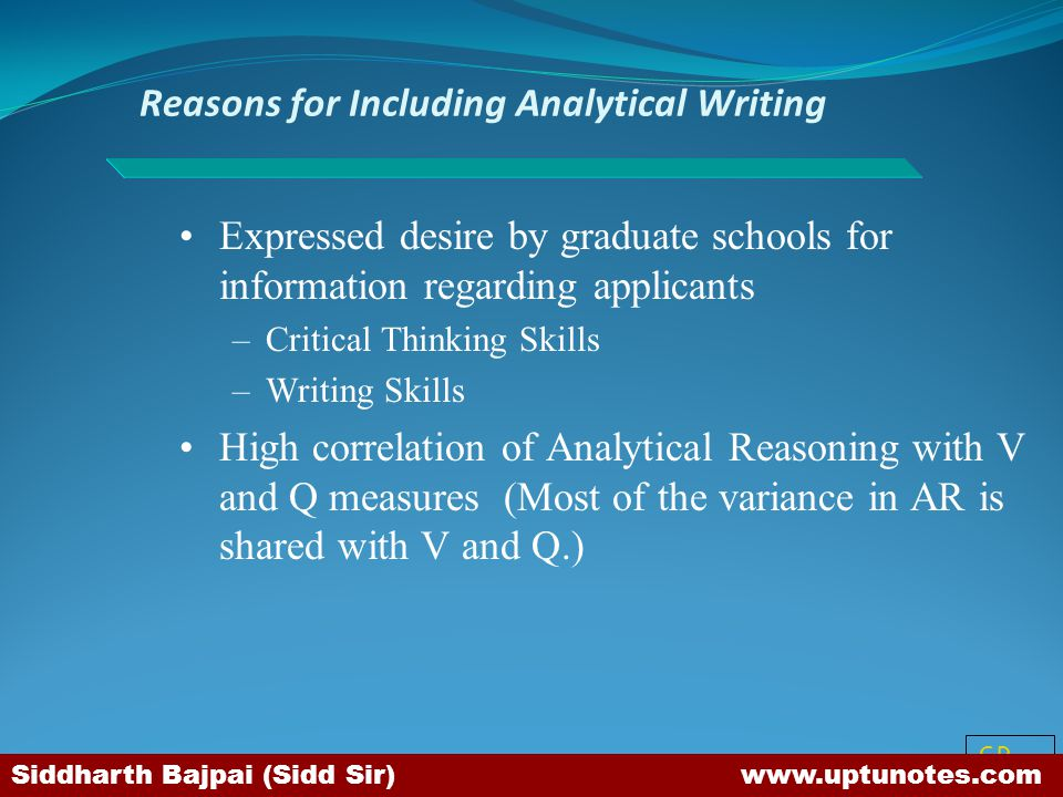 Reasons for Including Analytical Writing