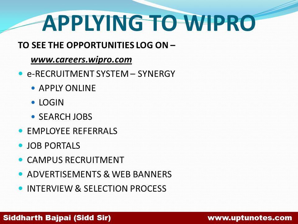 APPLYING TO WIPRO TO SEE THE OPPORTUNITIES LOG ON –