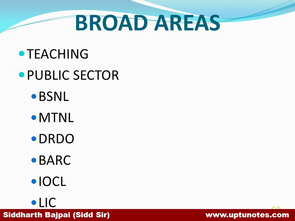 BROAD AREAS TEACHING PUBLIC SECTOR BSNL MTNL DRDO BARC IOCL LIC SB