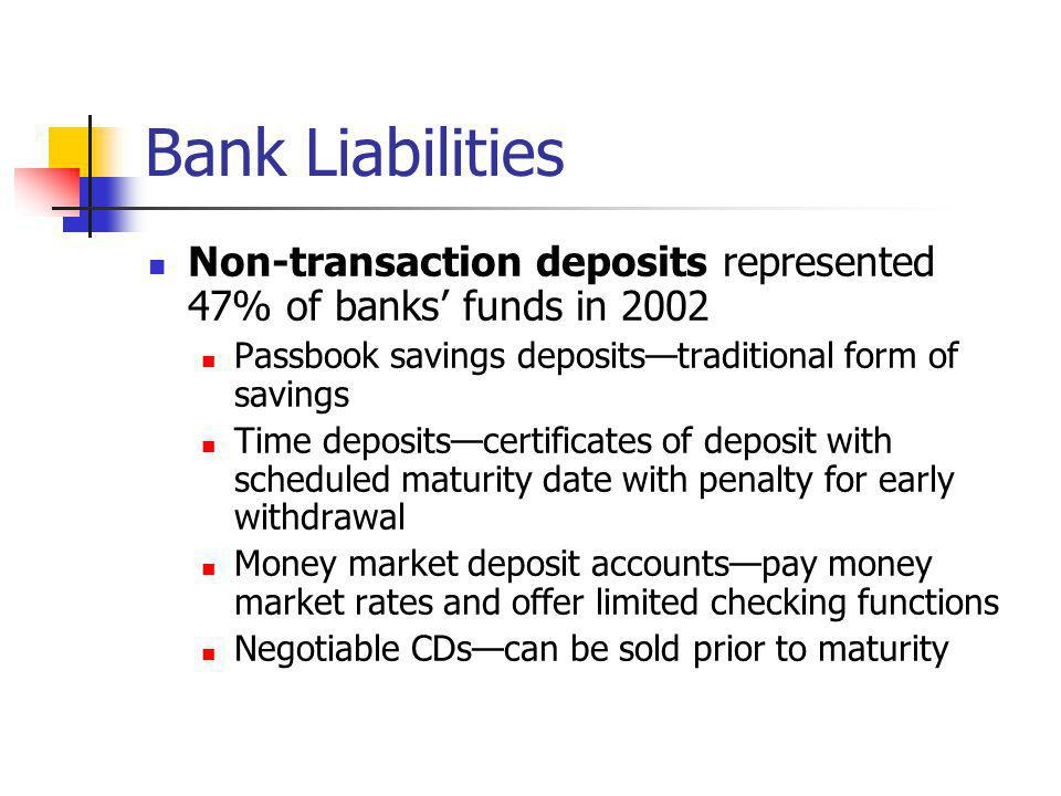 Bank Liabilities Non-transaction deposits represented 47% of banks' funds in 2002. Passbook savings deposits—traditional form of savings.