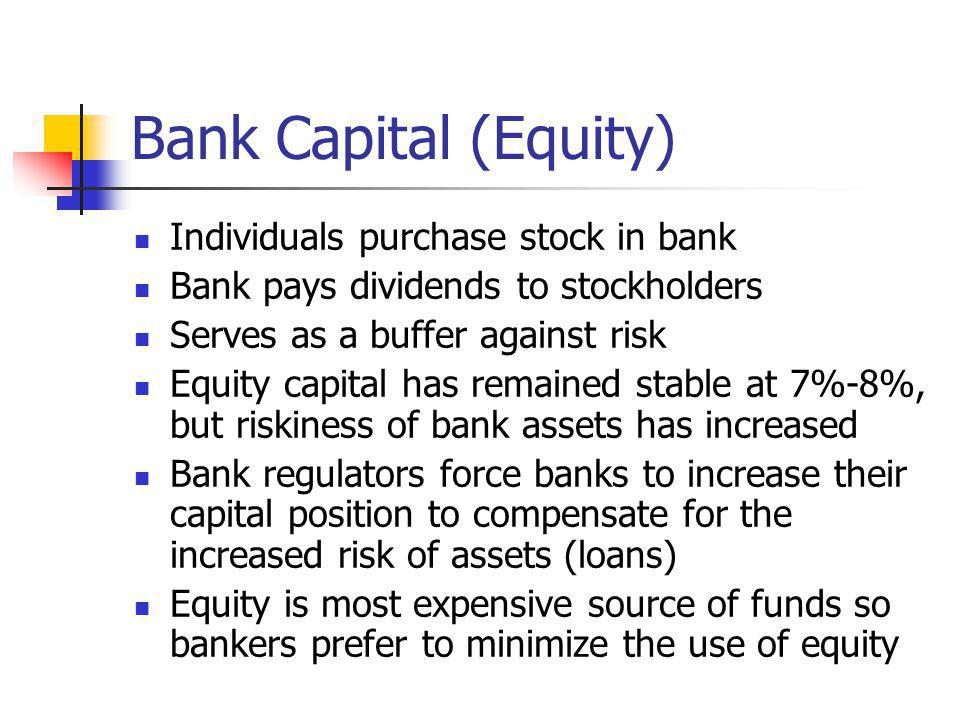 Bank Capital (Equity) Individuals purchase stock in bank