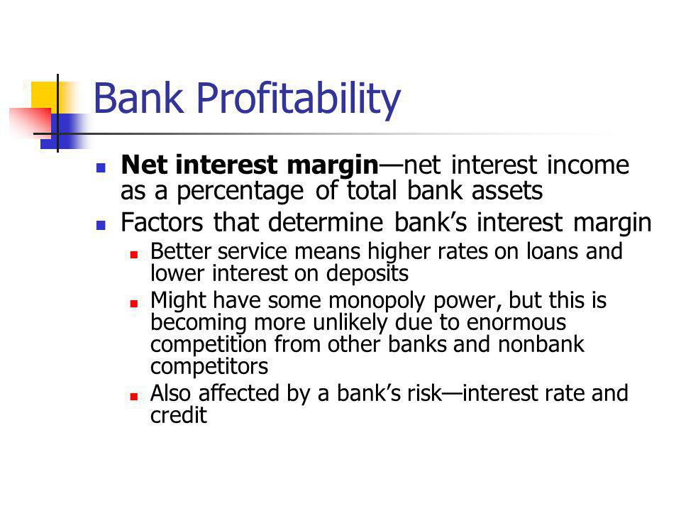Bank Profitability Net interest margin—net interest income as a percentage of total bank assets. Factors that determine bank's interest margin.
