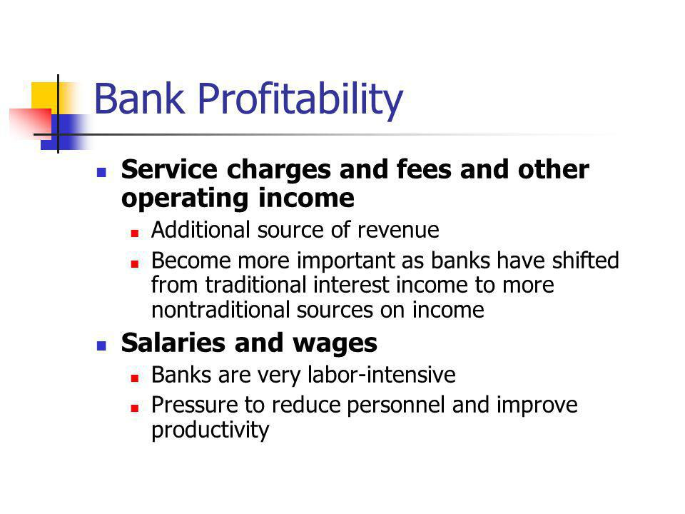 Bank Profitability Service charges and fees and other operating income
