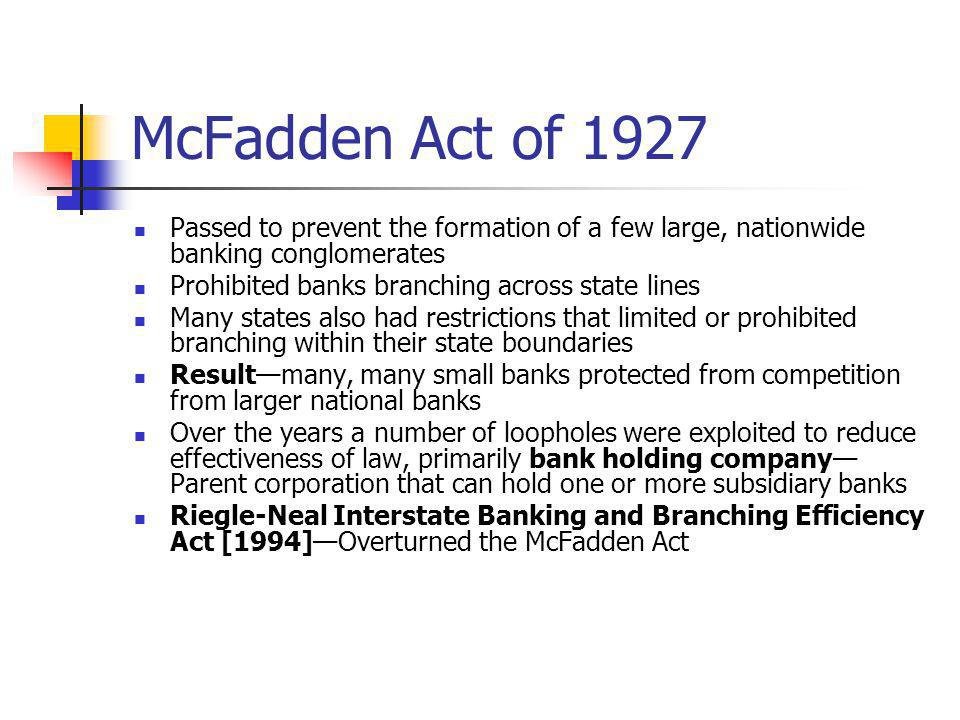 McFadden Act of 1927 Passed to prevent the formation of a few large, nationwide banking conglomerates.