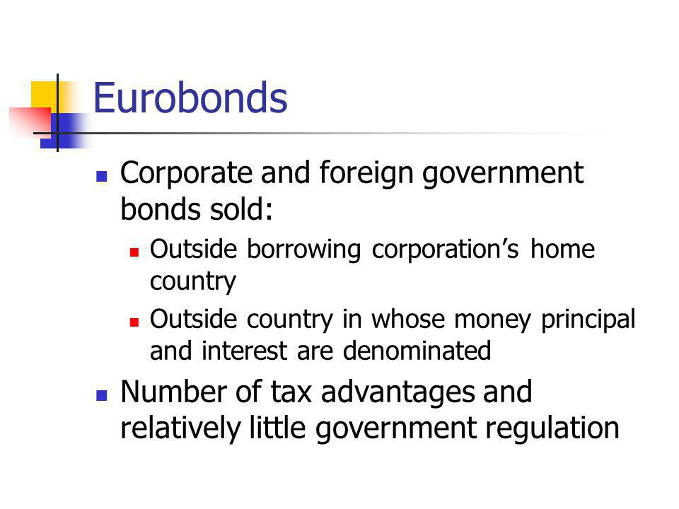 Eurobonds Corporate and foreign government bonds sold:
