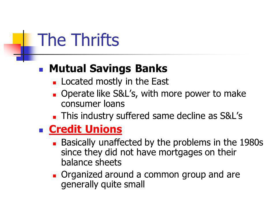 The Thrifts Mutual Savings Banks Credit Unions