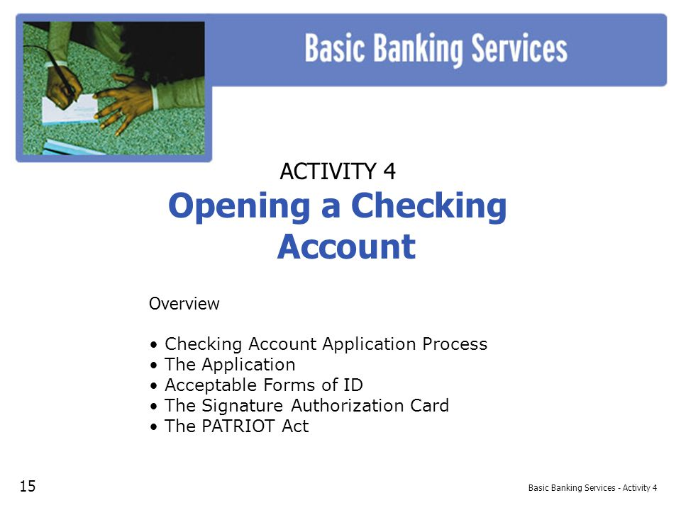 Basic Banking Services - Activity 4