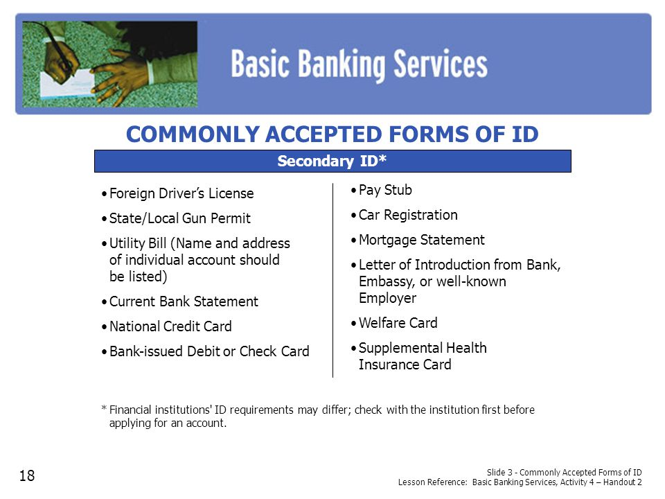 COMMONLY ACCEPTED FORMS OF ID
