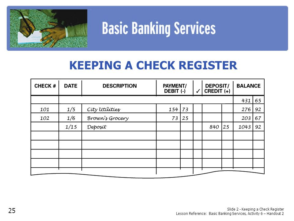 KEEPING A CHECK REGISTER