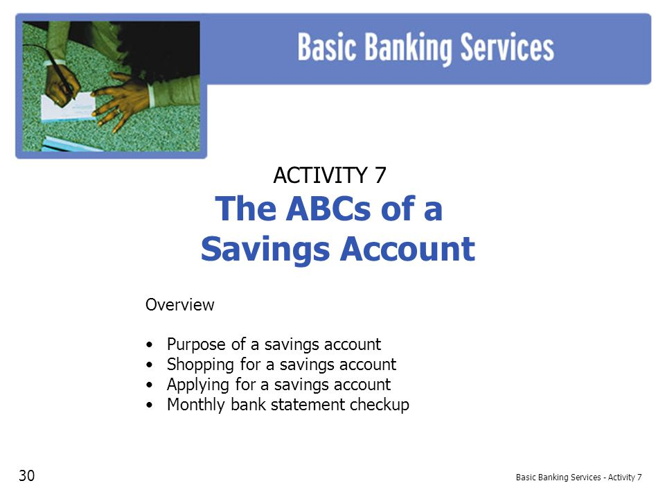 Basic Banking Services - Activity 7