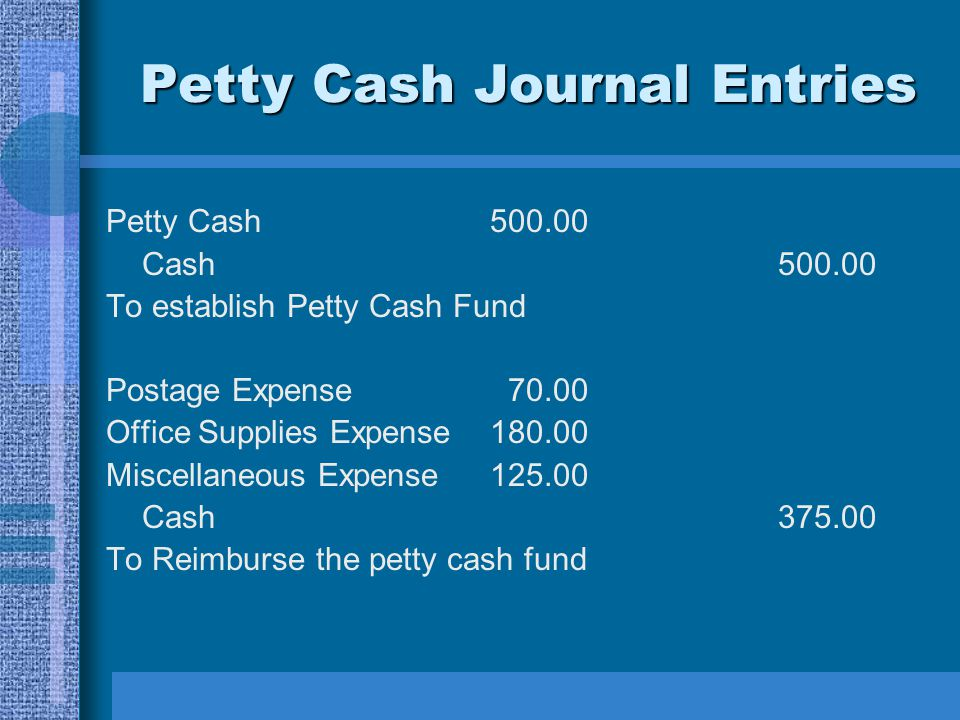 Petty Cash Journal Entries