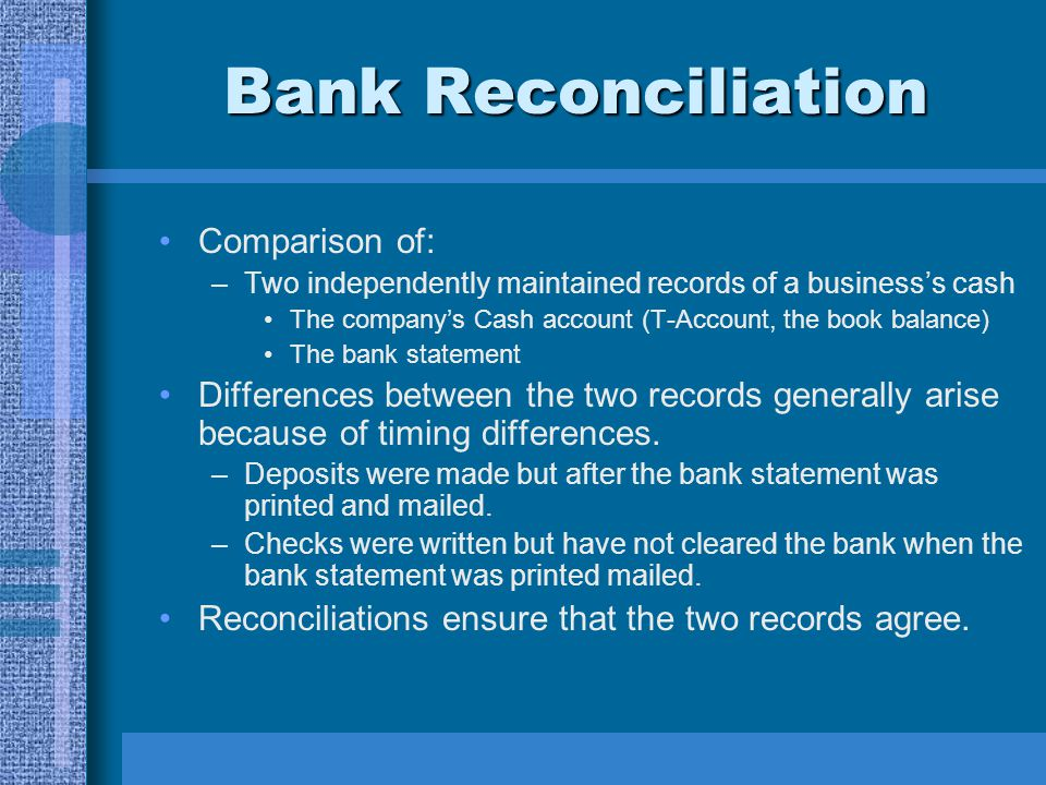 Bank Reconciliation Comparison of: