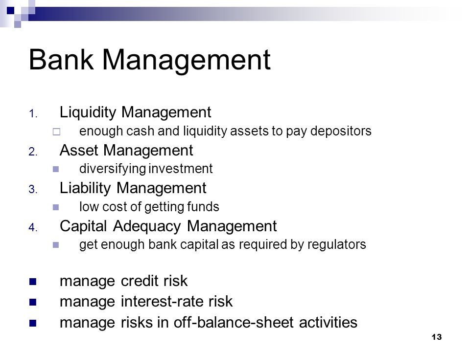 Bank Management Liquidity Management Asset Management