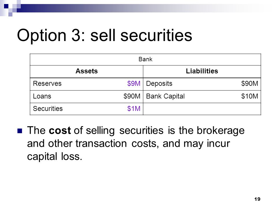 Option 3: sell securities