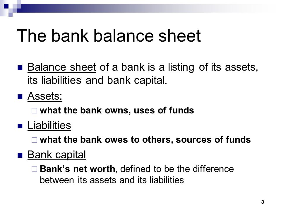 The bank balance sheet Balance sheet of a bank is a listing of its assets, its liabilities and bank capital.